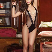 Mesh-Women-Sexy-Lingerie-Lace-Dress-Underwear-Black-Babydoll-Sleepwear-G-string