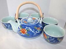 VTG HIZEN JAPAN PORCELAIN ARITA WARE TEA SET TEAPOT KETTLE & 5 TEA CUPS BLUE