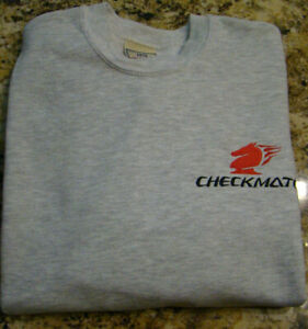 Checkmate Knight Boat Logo Crewneck Sweatshirt  Gray w/Black & Red Sz Medium
