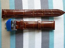 Leather Watch Band Strap 18mm Stainless Steel Butterfly Clasp Buckle
