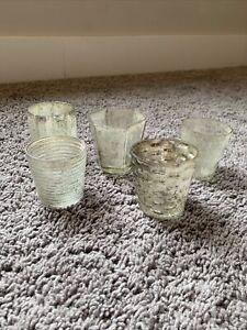 West Elm Set of 5 Mercury Glass Candle Holders