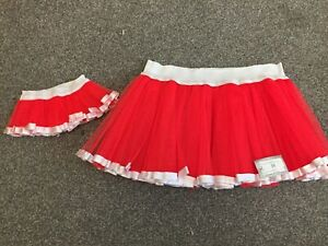 Mother and newborn baby matching red/white fancy dress tutu skirts