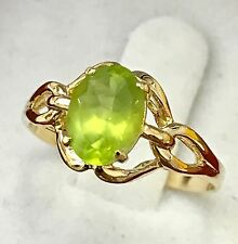 14k solid yellow gold solitaire oval Natural peridot ring 0.75 carats 2.10 grams