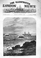 Old Antique Print 1876 Colonial Mail Steamer Windsor Castle Dassen Cape 19th