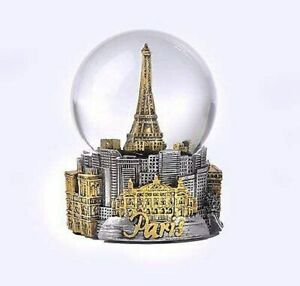 PARIS FRANCE EIFFEL TOWER  IN GOLD/SILER TONE - EXCLUSIVE 80MM SNOW GLOBE-NEW