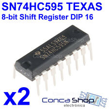 2 X 74HC595 SN74HC595N 74595 TEXAS 8-Bit Shift Register REGISTRO DESPLAZAMIENTO