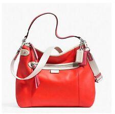 Coach Orange White Leather Daisy Spectator Conv. Shoulder Crossbody Bag F23903