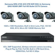 Samsung 2MP Network PoE HD 1080p 4 Bullet Camera's & 4CH PoE NVR CCTV Package