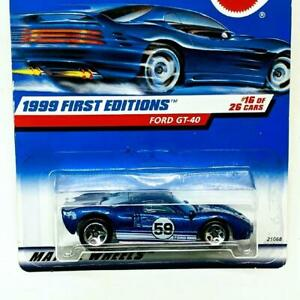 1999 Hot Wheels First Editions 16/26 Ford GT-40 Dark Blue 5sp New Sealed 59