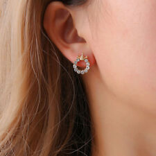 Round Rhinestone Ear Cuffs Climbers Hook Earrings Piercing Romantic Gifts one