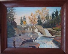 VTG Original F M Diets Waterfalls Painting Oil on Canvas PA Pocono Mountains?