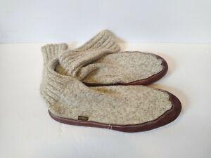 Acorn Slipper Socks Men's M XL 12 - 13 Gray Wool & Leather Soles Cloud Cushion