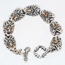 Sterling Silver & Bronze Tribal Skull Bracelet