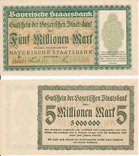 Baviera 5 millones de marcos cupón de bávaro banco estatal Notgeld 1923 UNC