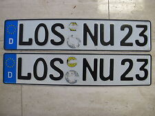 Vintage Pair German License Plates toll tags LOS NU23 Used Authentic Plates