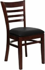 NEW MAHOGANY WOOD RESTAURANT DINING CHAIRS BLACK  SEAT/PRICED PER CHAIR
