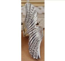 LONG SILVER ANGEL WING RING SIZE K CRYSTAL RHINESTONES