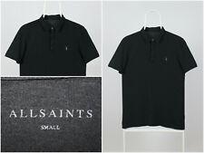 Mens AllSaints Polo Shirt Short Sleeve Black Cotton Size Small
