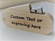 Personalised - Laser engraved - Wooden swivel 32GB memory stick - USB 2.0