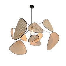 Wicker Rattan Branch Chandelier Light Fixture Vintage Hanging Lamp Lustre Room