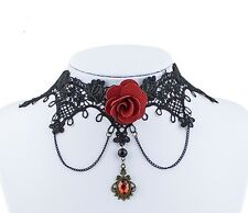 Stunning Vintage Black Lace Red Rose Pendant Necklace Choker Jewellery Gothic
