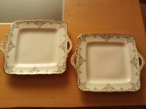 Vintage X2 Art Deco Cake Serving Plate Delphine China Hand Painted Design.