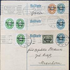 Deutsches Reich Ganzsache Dienst, 3 Belege Zusatzfrankatur 1921,1922