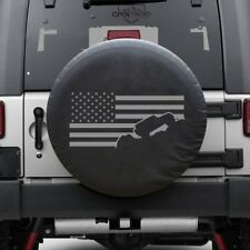 "Jeep Flag Tire cover Jeep Tire Cover GRAY PRINT Fits 30""-32"" tires"