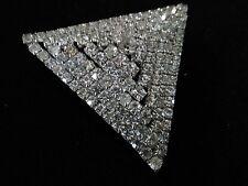 Vintage Art Deco Brooch Pin Crystal Rhinestones Silver tone 6 TIER  Triangle 3-D