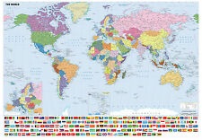 WATERPROOF GIANT SIZE LAMINATED WORLD MAP WITH FLAGS POSTER PRINT WALL ART