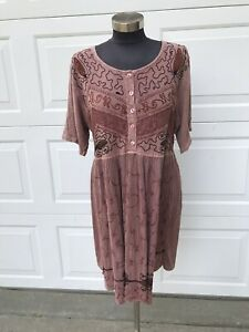Vintage 90s Cubicle Rayon Embroidered Babydoll Grunge Dress Free Size India
