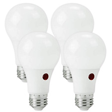4 PACK LED A19 DUSK TO DAWN LIGHT BULB AUTO ON/OFF 9W 2700K WARM WHITE