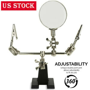 Third Hand Soldering Solder Iron Stand Holder Magnifier Helping Station Tool US