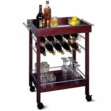 Winsome Wood Johnnie 2 Tier 10-Bottle Rolling Liquor Wine Serving Cart Mini Bar