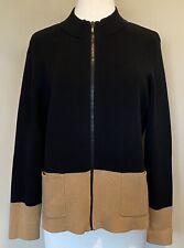 Chico's Zip Front Cardigan Sweater Jacket Black Tan Colorblock Cotton Sz 3 XL 16