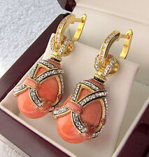 SALE ! RUSSIAN GENUINE CORAL STERLING SILVER 925  EARRINGS with ENAMEL 24K GOLD