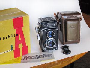 Yashica A Twin Lens Reflex Camera, Original Box, Case, etc.