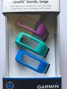 GARMIN Vivofit Replacement bands - 3 Pack (Purple, Teal, Blue) - Large NEW