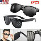 2PCS Anti-fatigue Pinhole Glasses Stenopeic Vision Improver Eyesight Sunglasses