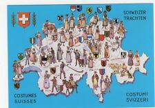 Switzerland, Costumes Map Heraldic Postcard, B354