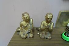 Pair Altfield Gallery Antique Gilt Lacquer Wooden Burmese Kneeling Monk Inlay