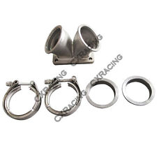 """3"""" Vband Inlet to T6 Dual Turbo Elbow Twin Scroll Divided Adapter Flange"""