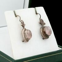 Antique Vintage Art Deco 925 Sterling Silver Rose Quartz Floral Drop Earrings