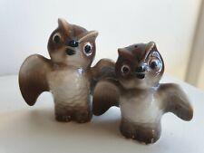 Vintage Retro Owl Salt + Pepper Shaker Pair. Kitsch owls. Wings spread. Brown
