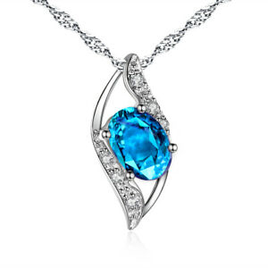 925 Sterling Silver Simulated Topaz Necklace Leaf Pendant Christmas Gift for Her
