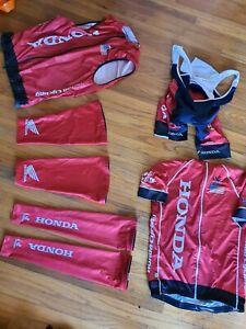 Honda Mens Large Cycling Kit Jersey Bib Shorts, Vest, Leg Warmers, Arm Warmers