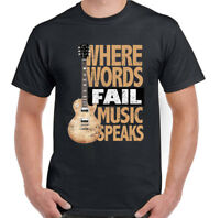 Music Speaks Mens Funny Guitar T-Shirt Acoustic Electric Bass Rock n Roll Band