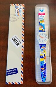 """DESTINATION SWATCH Greetings from GREECE New in Box GW408C """"LIMITED"""""""