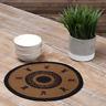 "New Primitive WINE BLACK STAR Jute Braided Doily Trivet Table Candle Mat 13"""