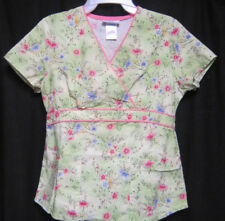 SB Scrubs scrub top XS Yellow and Green with Pink and Blue Flowers